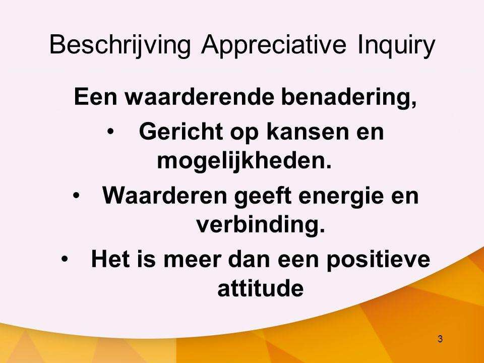3 Beschrijving Appreciative Inquiry Een waarderende benadering, Gericht op kansen en mogelijkheden. Waarderen geeft energie en verbinding. Het is meer