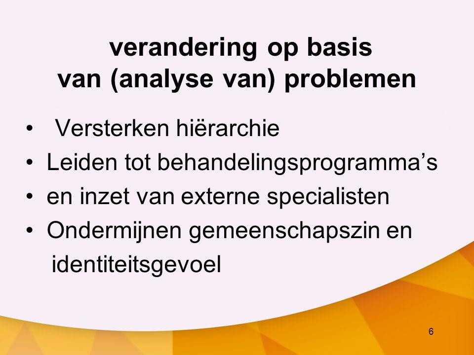 6 verandering op basis van (analyse van) problemen Versterken hiërarchie Leiden tot behandelingsprogramma's en inzet van externe specialisten Ondermij