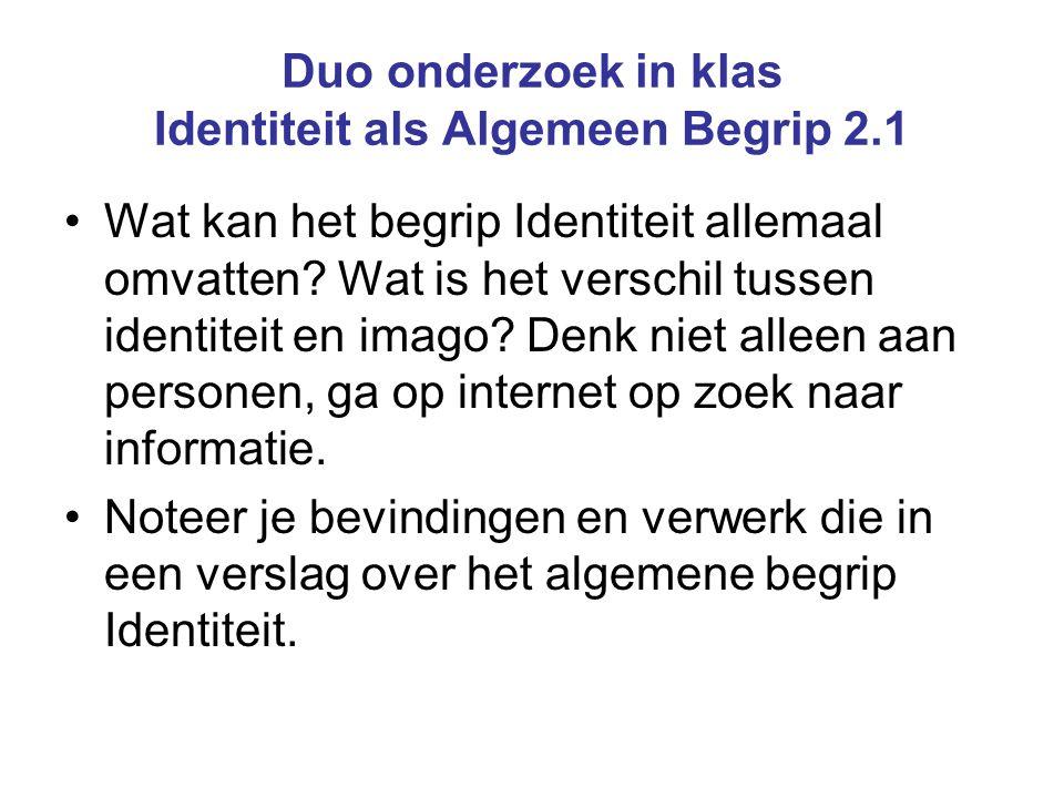 Duo onderzoek in klas Identiteit als Algemeen Begrip 2.1 Wat kan het begrip Identiteit allemaal omvatten? Wat is het verschil tussen identiteit en ima