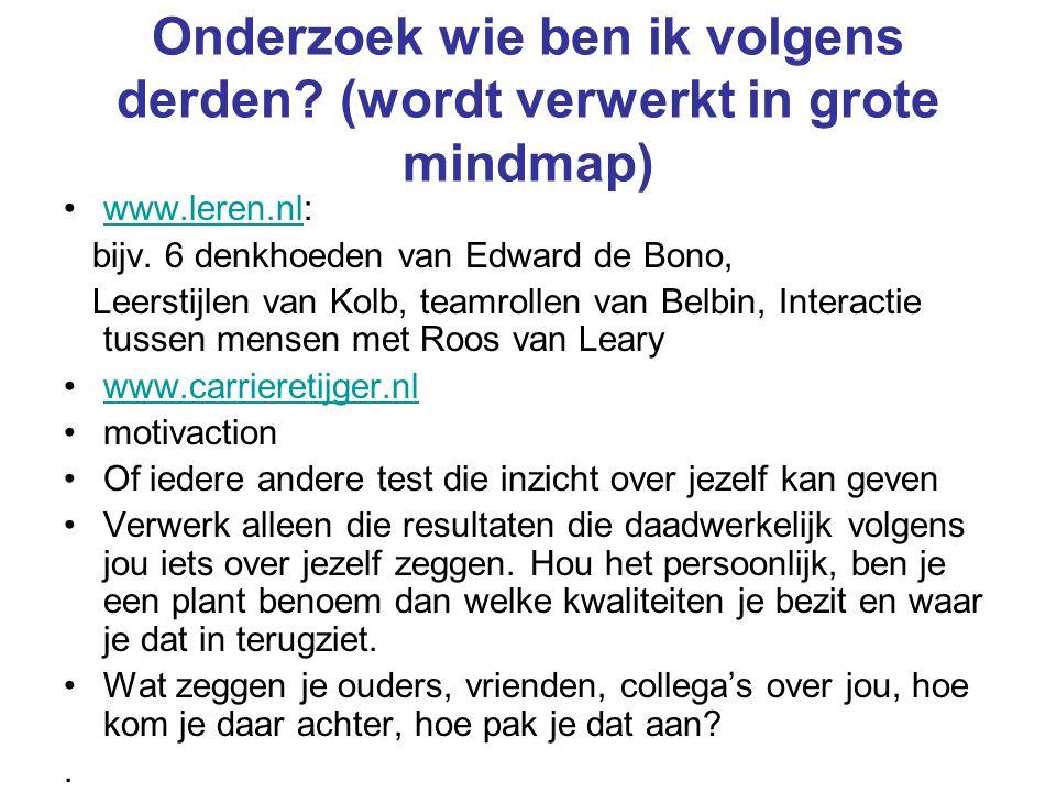 Onderzoek wie ben ik volgens derden? (wordt verwerkt in grote mindmap) www.leren.nl:www.leren.nl bijv. 6 denkhoeden van Edward de Bono, Leerstijlen va