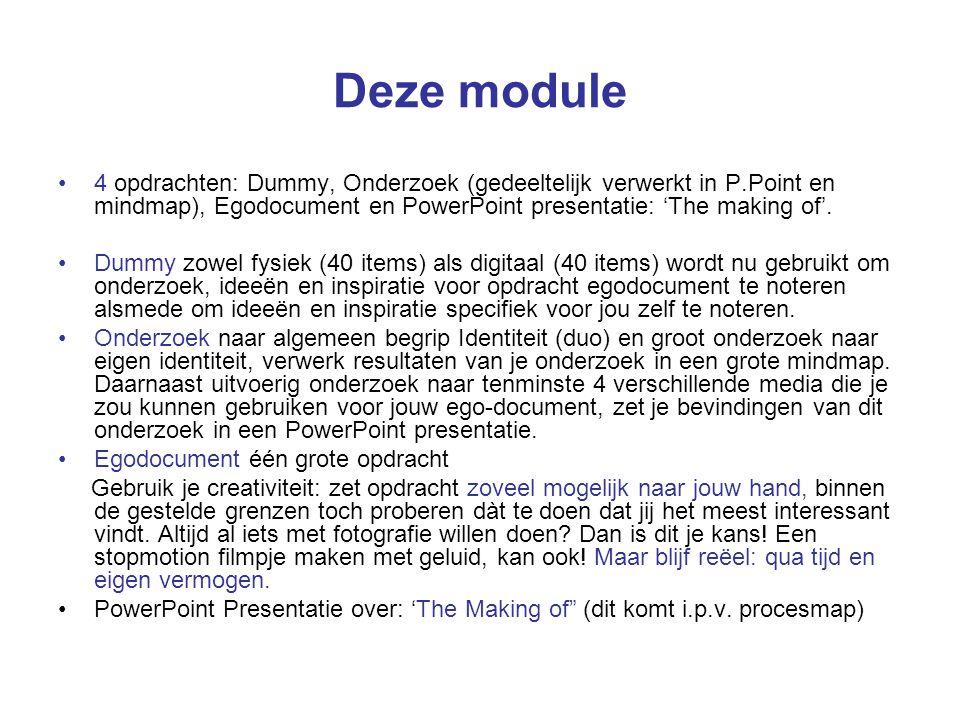 Deze module 4 opdrachten: Dummy, Onderzoek (gedeeltelijk verwerkt in P.Point en mindmap), Egodocument en PowerPoint presentatie: 'The making of'. Dumm