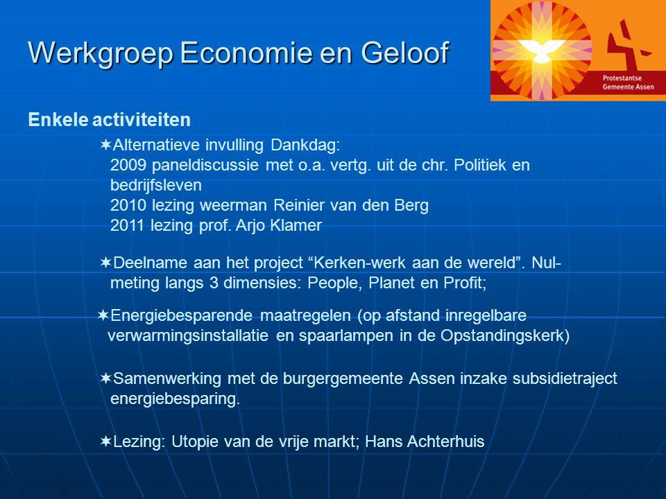 Werkgroep Economie en Geloof Enkele activiteiten  Alternatieve invulling Dankdag: 2009 paneldiscussie met o.a.