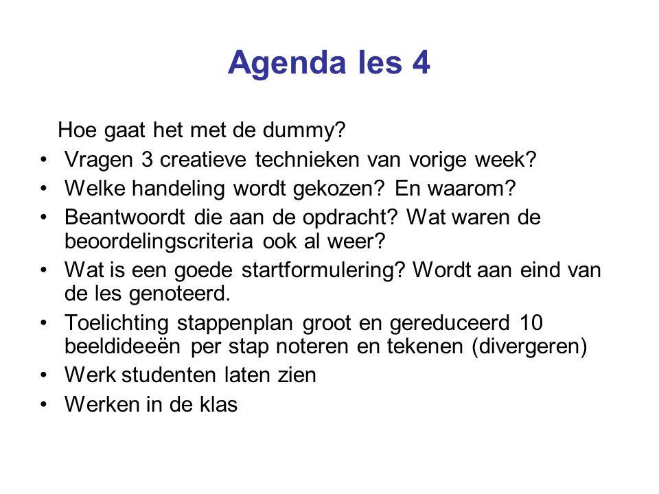 Agenda les 4 Hoe gaat het met de dummy. Vragen 3 creatieve technieken van vorige week.