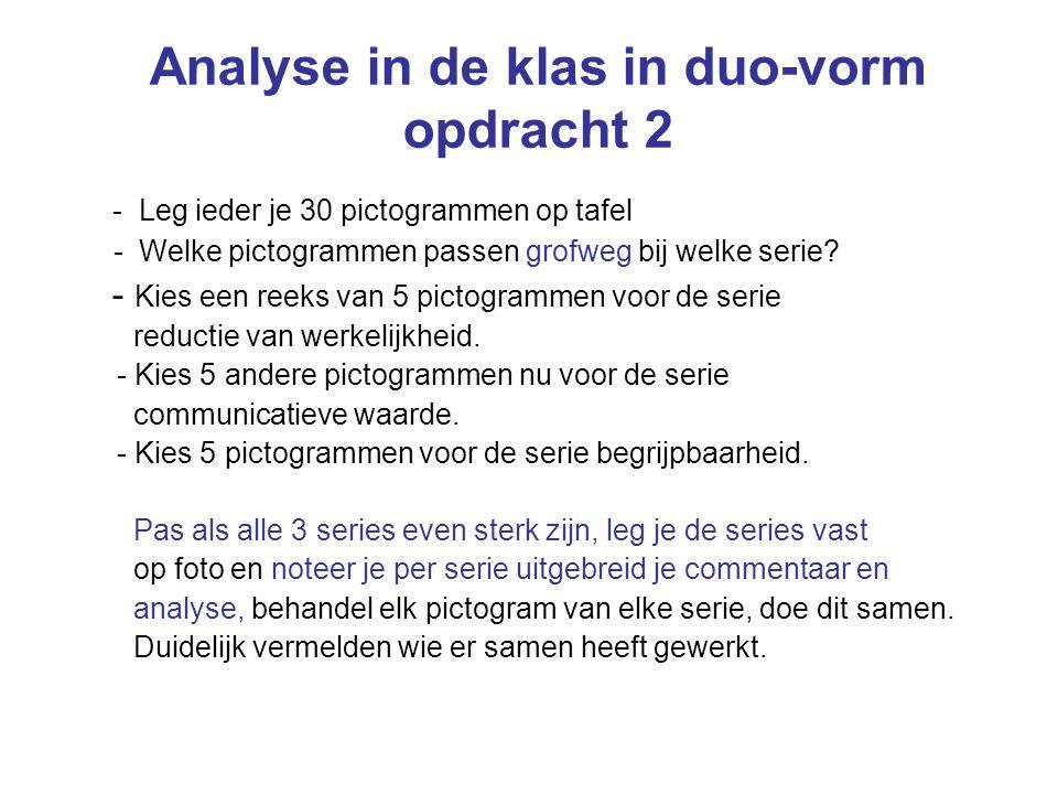 Analyse in de klas in duo-vorm opdracht 2 - Leg ieder je 30 pictogrammen op tafel - Welke pictogrammen passen grofweg bij welke serie? - Kies een reek
