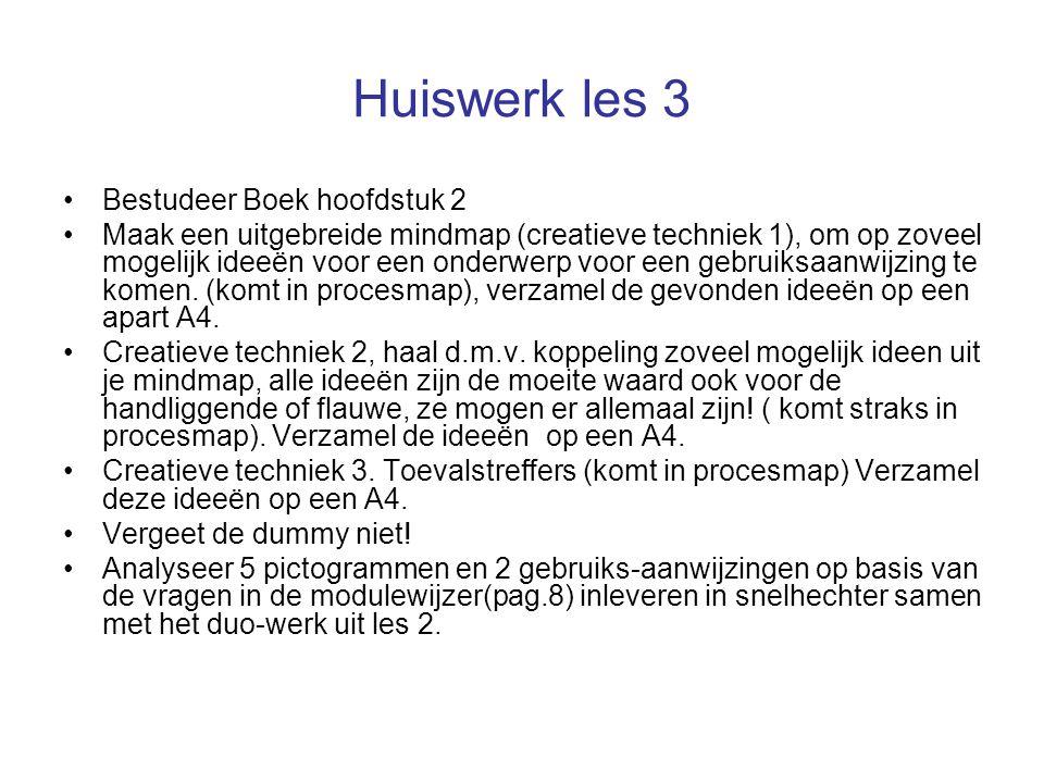 Huiswerk les 3 Bestudeer Boek hoofdstuk 2 Maak een uitgebreide mindmap (creatieve techniek 1), om op zoveel mogelijk ideeën voor een onderwerp voor ee