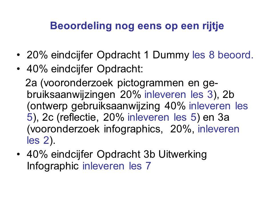 Beoordeling nog eens op een rijtje 20% eindcijfer Opdracht 1 Dummy les 8 beoord. 40% eindcijfer Opdracht: 2a (vooronderzoek pictogrammen en ge- bruiks