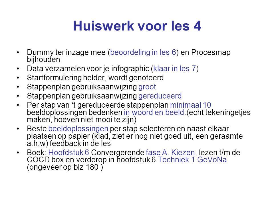 Huiswerk voor les 4 Dummy ter inzage mee (beoordeling in les 6) en Procesmap bijhouden Data verzamelen voor je infographic (klaar in les 7) Startformulering helder, wordt genoteerd Stappenplan gebruiksaanwijzing groot Stappenplan gebruiksaanwijzing gereduceerd Per stap van 't gereduceerde stappenplan minimaal 10 beeldoplossingen bedenken in woord en beeld.(echt tekeningetjes maken, hoeven niet mooi te zijn) Beste beeldoplossingen per stap selecteren en naast elkaar plaatsen op papier (klad, ziet er nog niet goed uit, een geraamte a.h.w) feedback in de les Boek: Hoofdstuk 6 Convergerende fase A.