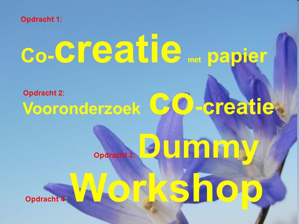 Vooronderzoek co -creatie Opdracht 1: Co- creatie met papier Opdracht 3: Dummy Opdracht 4: Workshop Opdracht 2: