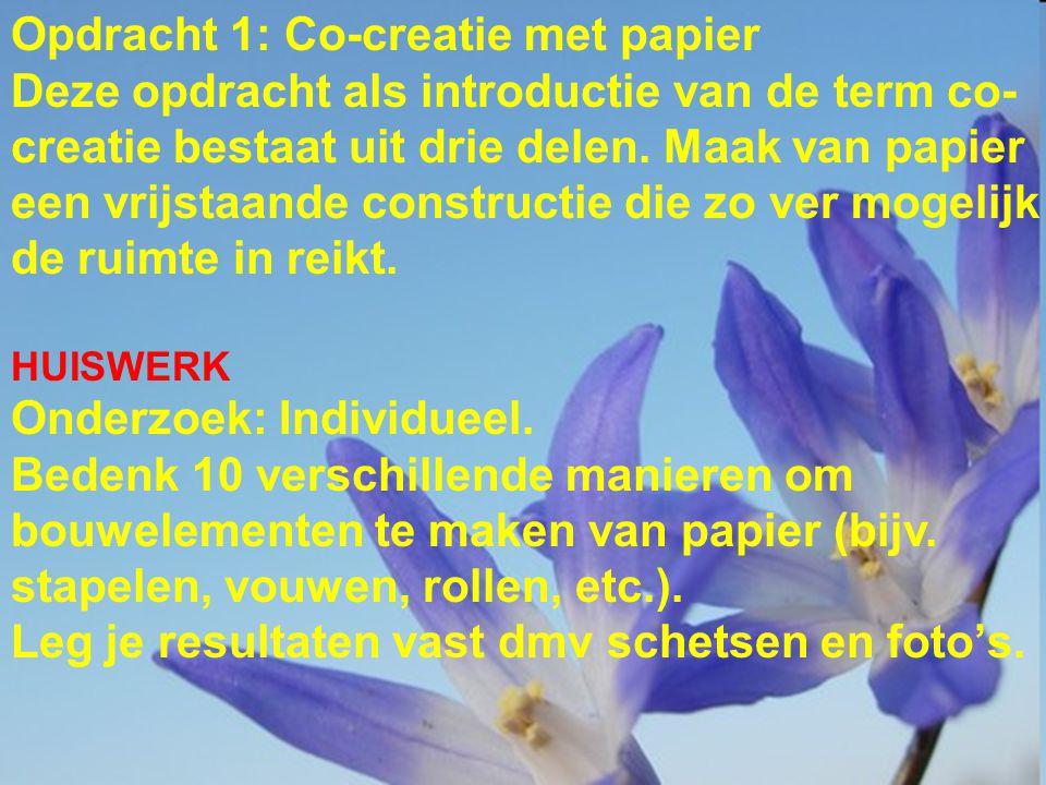 Opdracht 1: Co-creatie met papier Deze opdracht als introductie van de term co- creatie bestaat uit drie delen.