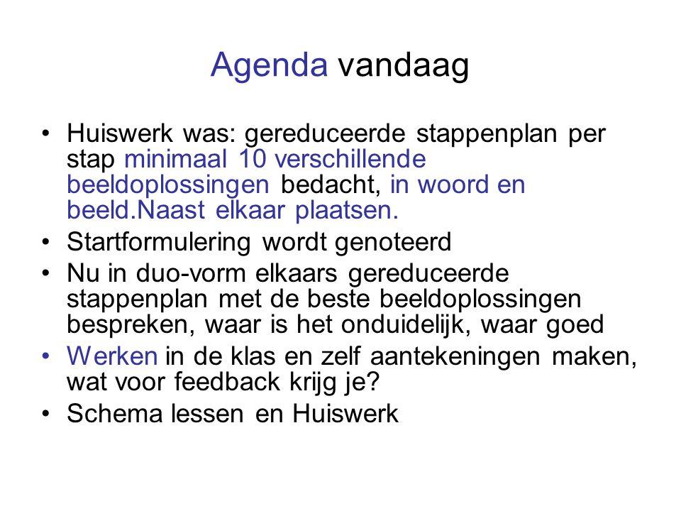 Agenda vandaag Huiswerk was: gereduceerde stappenplan per stap minimaal 10 verschillende beeldoplossingen bedacht, in woord en beeld.Naast elkaar plaa