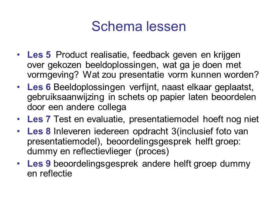 Schema lessen Les 5 Product realisatie, feedback geven en krijgen over gekozen beeldoplossingen, wat ga je doen met vormgeving? Wat zou presentatie vo