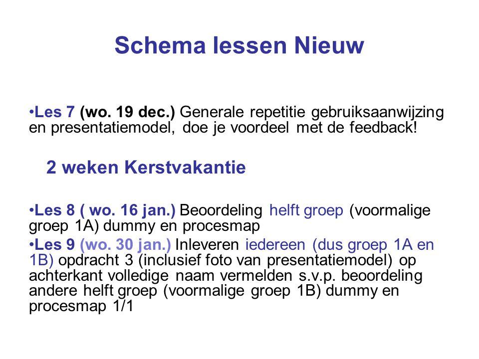 Schema lessen Nieuw Les 7 (wo.