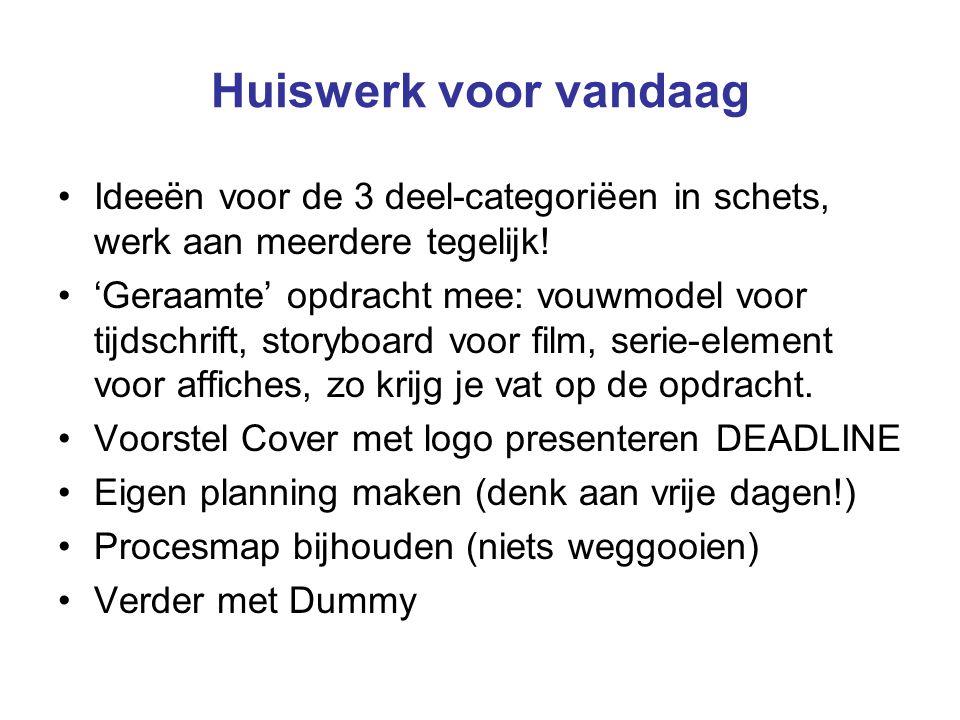 Huiswerk voor vandaag Ideeën voor de 3 deel-categoriëen in schets, werk aan meerdere tegelijk! 'Geraamte' opdracht mee: vouwmodel voor tijdschrift, st