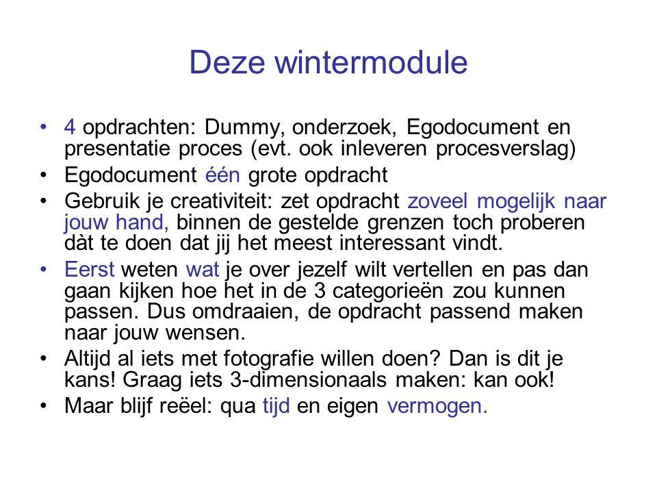 Deze wintermodule 4 opdrachten: Dummy, onderzoek, Egodocument en presentatie proces (evt.