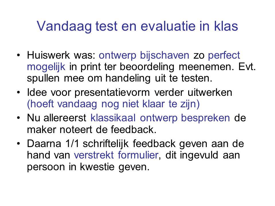 Vandaag test en evaluatie in klas Huiswerk was: ontwerp bijschaven zo perfect mogelijk in print ter beoordeling meenemen.