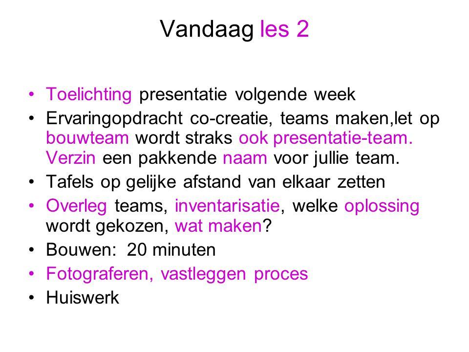 Vandaag les 2 Toelichting presentatie volgende week Ervaringopdracht co-creatie, teams maken,let op bouwteam wordt straks ook presentatie-team.