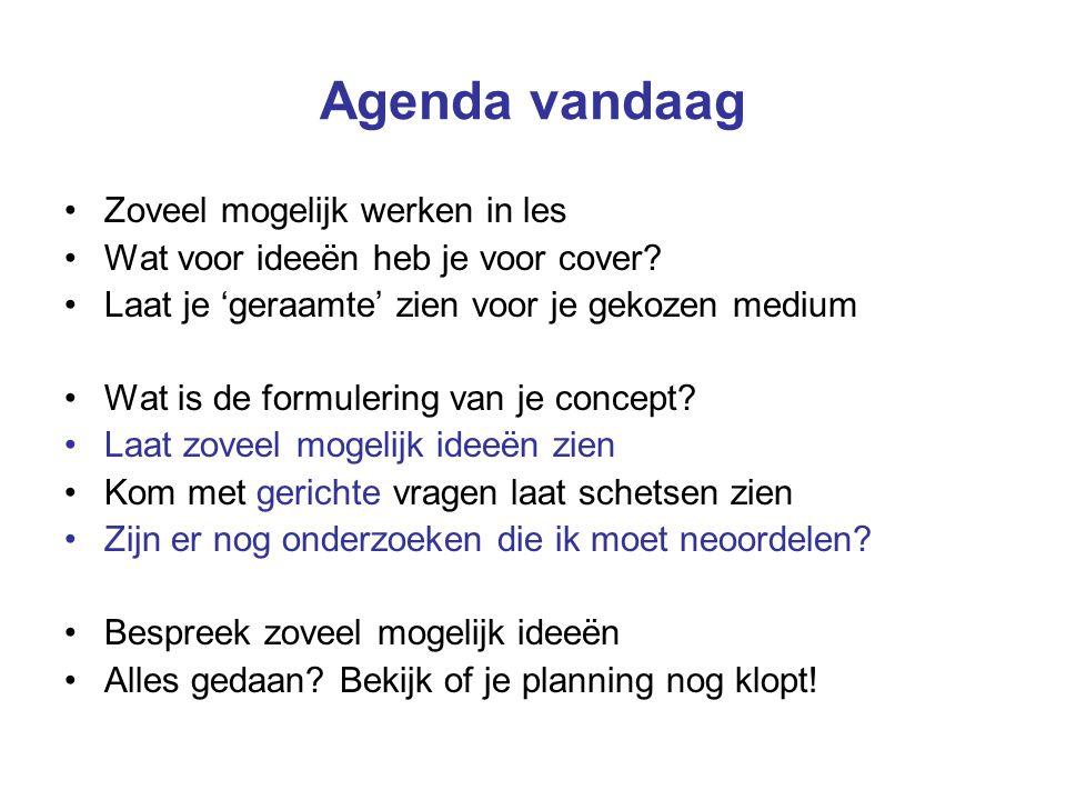 Agenda vandaag Zoveel mogelijk werken in les Wat voor ideeën heb je voor cover? Laat je 'geraamte' zien voor je gekozen medium Wat is de formulering v