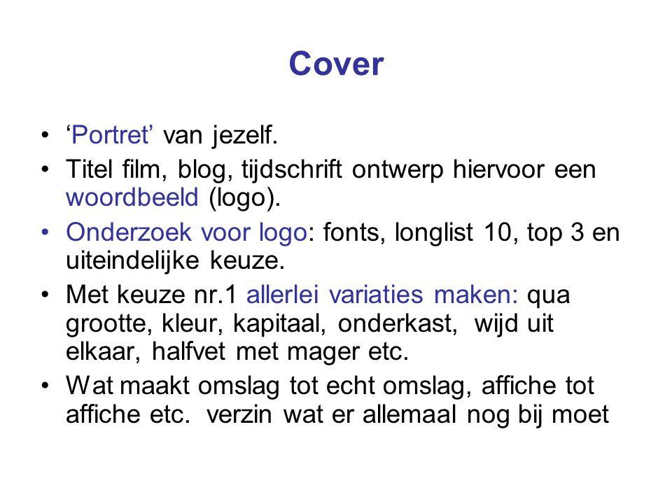 Cover 'Portret' van jezelf. Titel film, blog, tijdschrift ontwerp hiervoor een woordbeeld (logo).