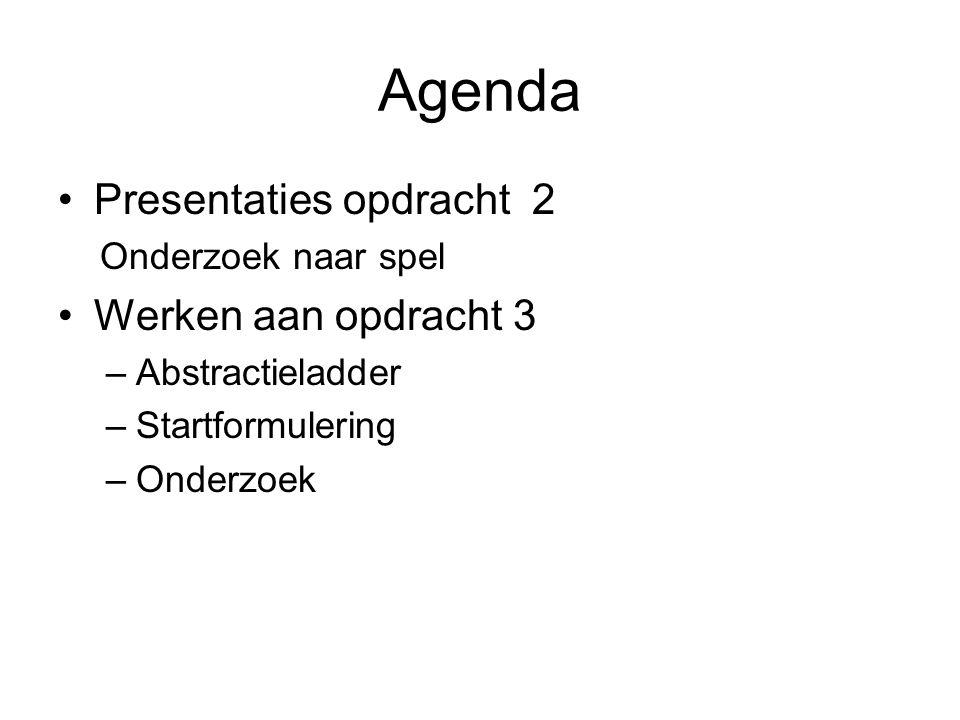Agenda Presentaties opdracht 2 Onderzoek naar spel Werken aan opdracht 3 –Abstractieladder –Startformulering –Onderzoek