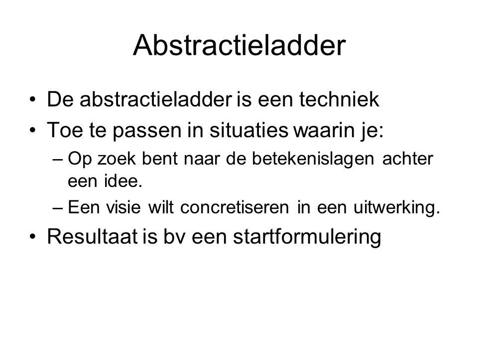 Abstractieladder Omhoog op de ladder: –Richting betekenis en concept –De waarom….. vraag Omlaag op de ladder –Richting product en uitwerking –De hoe kan ik…. vraag