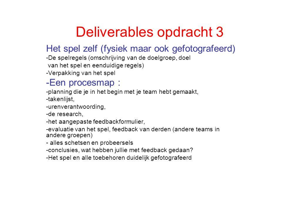 Deliverables opdracht 3 Het spel zelf (fysiek maar ook gefotografeerd) -De spelregels (omschrijving van de doelgroep, doel van het spel en eenduidige regels) -Verpakking van het spel -Een procesmap : -planning die je in het begin met je team hebt gemaakt, -takenlijst, -urenverantwoording, -de research, -het aangepaste feedbackformulier, -evaluatie van het spel, feedback van derden (andere teams in andere groepen) - alles schetsen en probeersels -conclusies, wat hebben jullie met feedback gedaan.