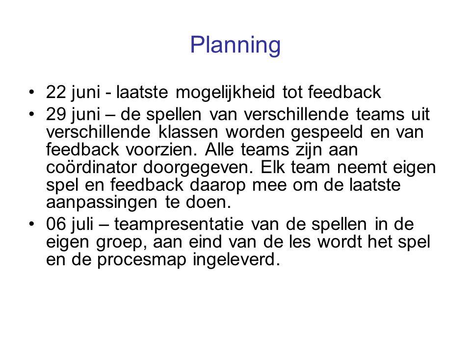 Planning 22 juni - laatste mogelijkheid tot feedback 29 juni – de spellen van verschillende teams uit verschillende klassen worden gespeeld en van feedback voorzien.