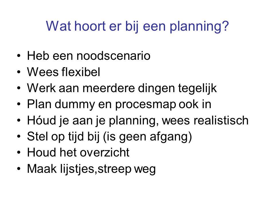 Wat hoort er bij een planning? Heb een noodscenario Wees flexibel Werk aan meerdere dingen tegelijk Plan dummy en procesmap ook in Hóud je aan je plan