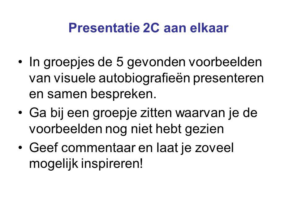 Presentatie 2C aan elkaar In groepjes de 5 gevonden voorbeelden van visuele autobiografieën presenteren en samen bespreken.
