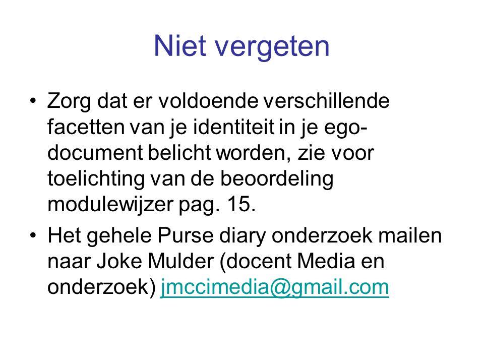 Niet vergeten Zorg dat er voldoende verschillende facetten van je identiteit in je ego- document belicht worden, zie voor toelichting van de beoordeling modulewijzer pag.