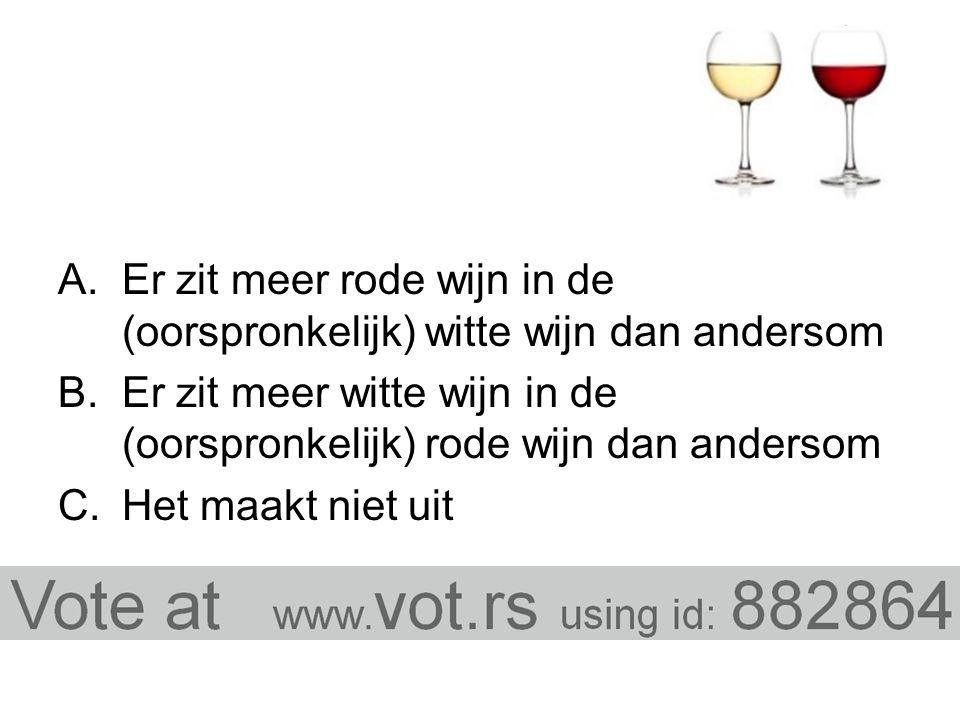 A.Er zit meer rode wijn in de (oorspronkelijk) witte wijn dan andersom B.Er zit meer witte wijn in de (oorspronkelijk) rode wijn dan andersom C.Het maakt niet uit