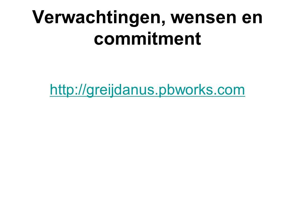 Verwachtingen, wensen en commitment http://greijdanus.pbworks.com