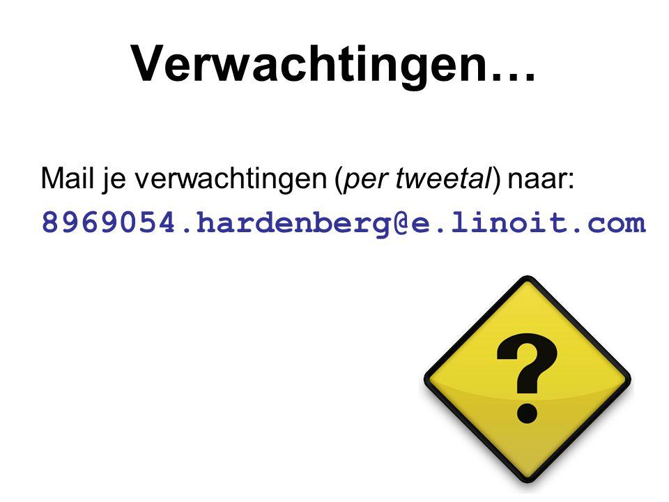 Verwachtingen… Mail je verwachtingen (per tweetal) naar: 8969054.hardenberg@e.linoit.com