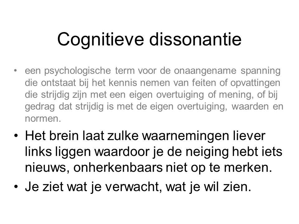 Cognitieve dissonantie een psychologische term voor de onaangename spanning die ontstaat bij het kennis nemen van feiten of opvattingen die strijdig z
