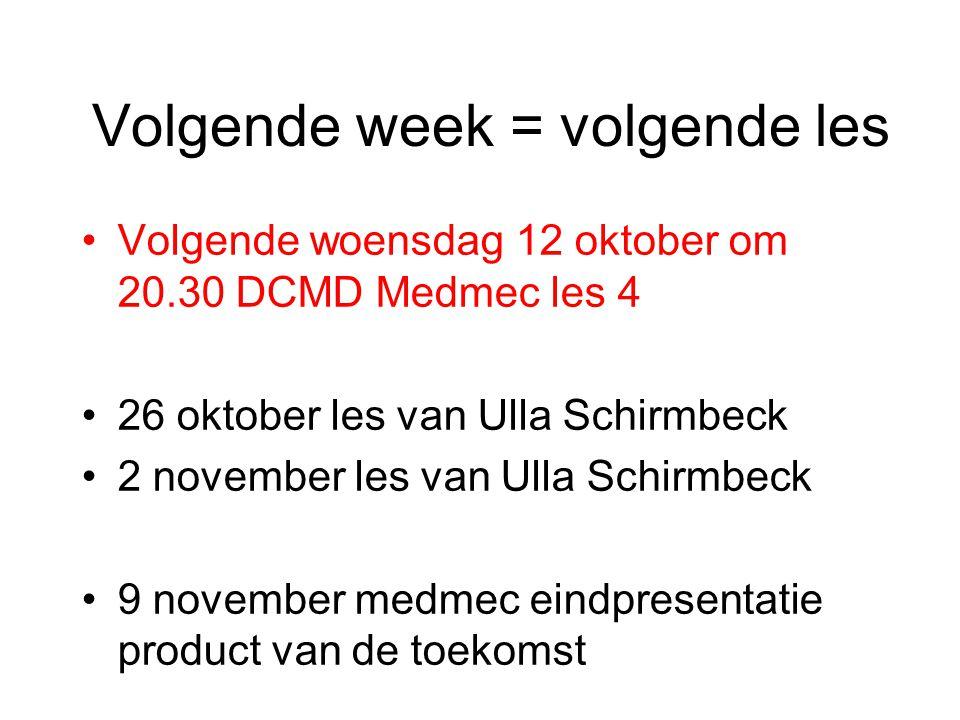 Volgende week = volgende les Volgende woensdag 12 oktober om 20.30 DCMD Medmec les 4 26 oktober les van Ulla Schirmbeck 2 november les van Ulla Schirm