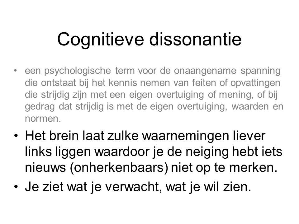 Cognitieve dissonantie een psychologische term voor de onaangename spanning die ontstaat bij het kennis nemen van feiten of opvattingen die strijdig zijn met een eigen overtuiging of mening, of bij gedrag dat strijdig is met de eigen overtuiging, waarden en normen.