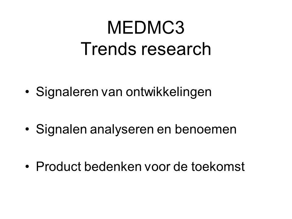 MEDMC3 Trends research Signaleren van ontwikkelingen Signalen analyseren en benoemen Product bedenken voor de toekomst