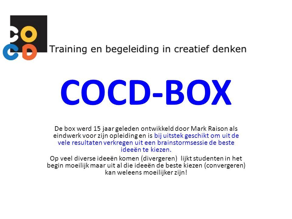 COCD-BOX De box werd 15 jaar geleden ontwikkeld door Mark Raison als eindwerk voor zijn opleiding en is bij uitstek geschikt om uit de vele resultaten