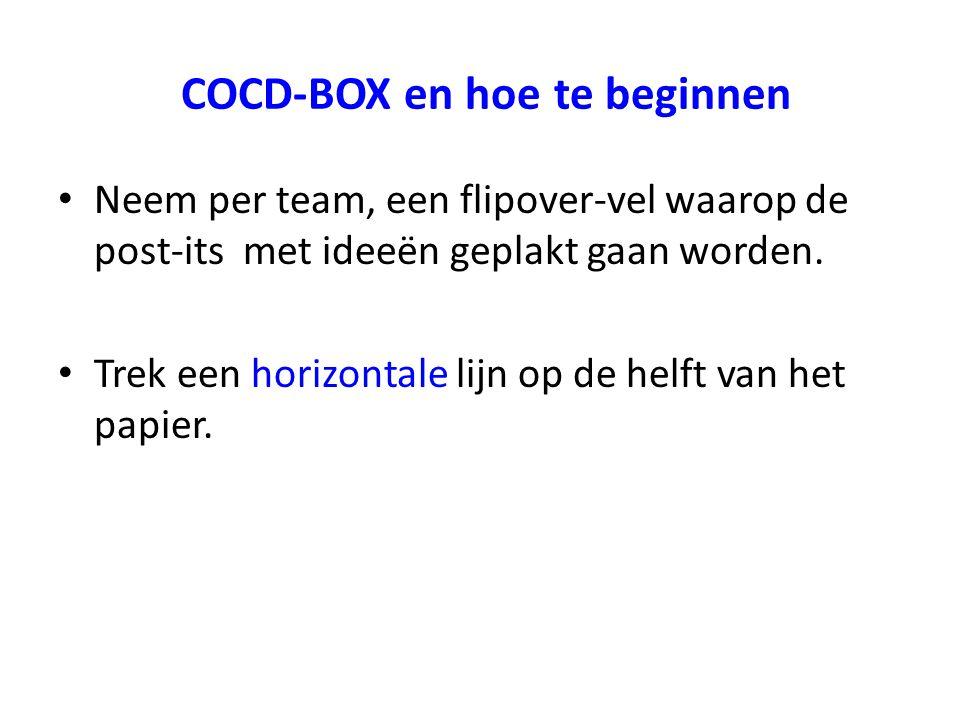 COCD-BOX en hoe te beginnen Neem per team, een flipover-vel waarop de post-its met ideeën geplakt gaan worden. Trek een horizontale lijn op de helft v