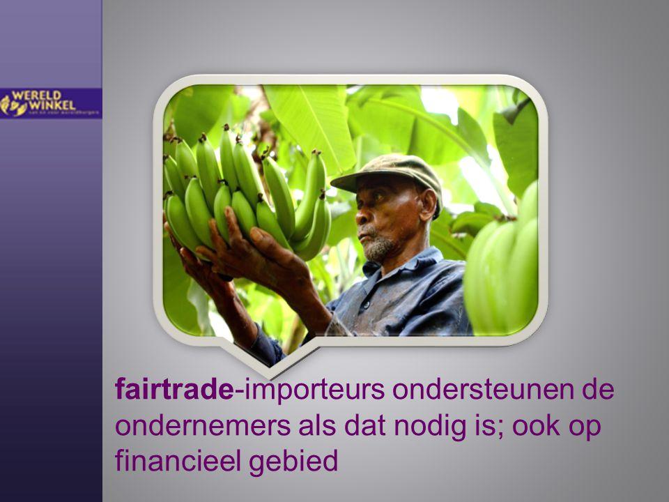 fairtrade-importeurs ondersteunen de ondernemers als dat nodig is; ook op financieel gebied