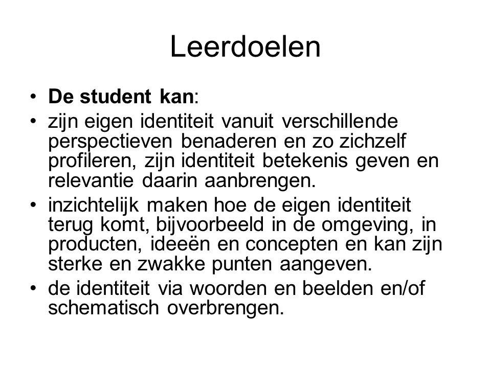 Leerdoelen De student kan: zijn eigen identiteit vanuit verschillende perspectieven benaderen en zo zichzelf profileren, zijn identiteit betekenis gev