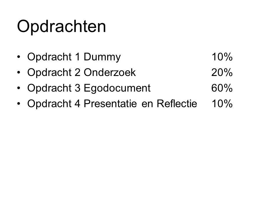 Opdrachten Opdracht 1 Dummy10% Opdracht 2 Onderzoek20% Opdracht 3 Egodocument60% Opdracht 4 Presentatie en Reflectie10%