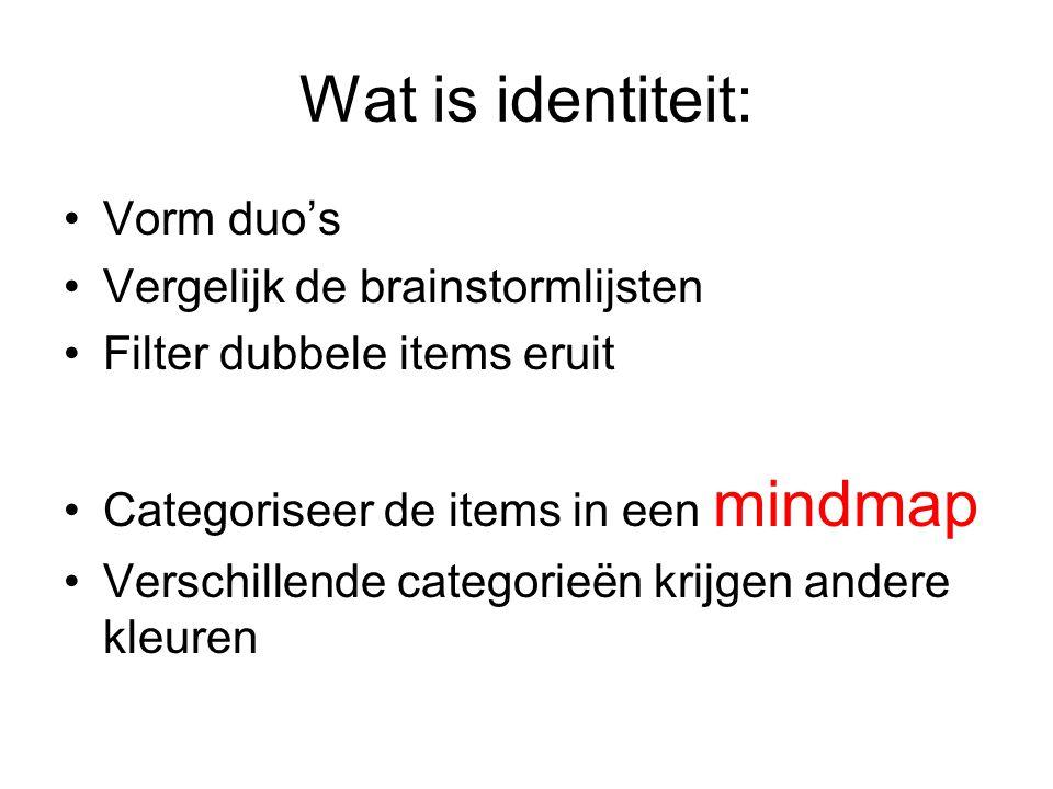 Wat is identiteit: Vorm duo's Vergelijk de brainstormlijsten Filter dubbele items eruit Categoriseer de items in een mindmap Verschillende categorieën