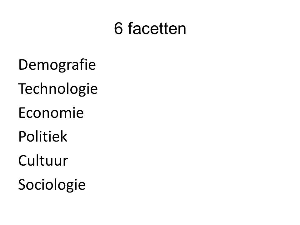 6 facetten Demografie Technologie Economie Politiek Cultuur Sociologie