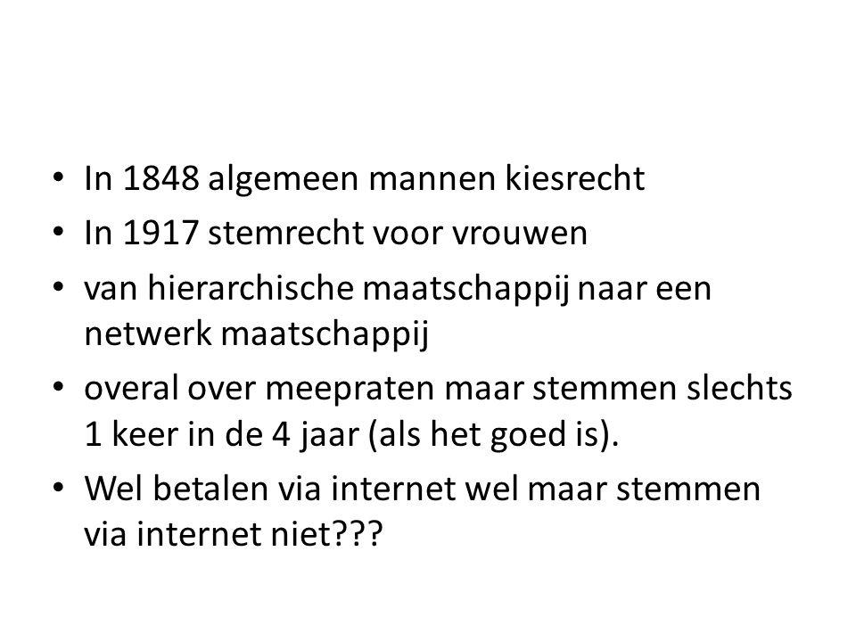 In 1848 algemeen mannen kiesrecht In 1917 stemrecht voor vrouwen van hierarchische maatschappij naar een netwerk maatschappij overal over meepraten ma