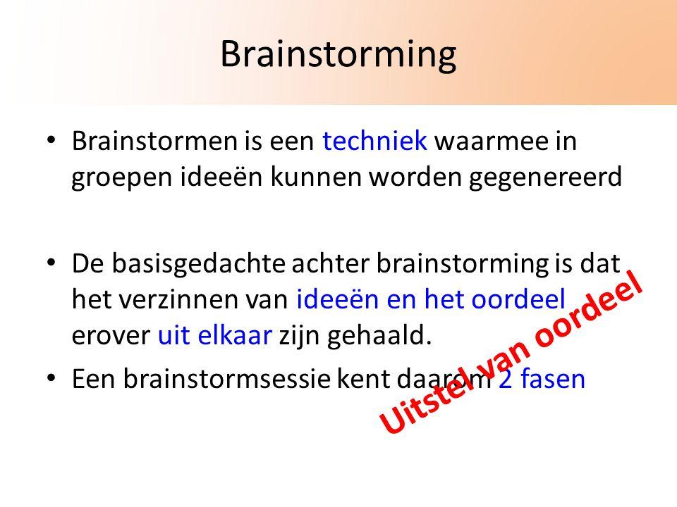Brainstorming Brainstormen is een techniek waarmee in groepen ideeën kunnen worden gegenereerd De basisgedachte achter brainstorming is dat het verzinnen van ideeën en het oordeel erover uit elkaar zijn gehaald.