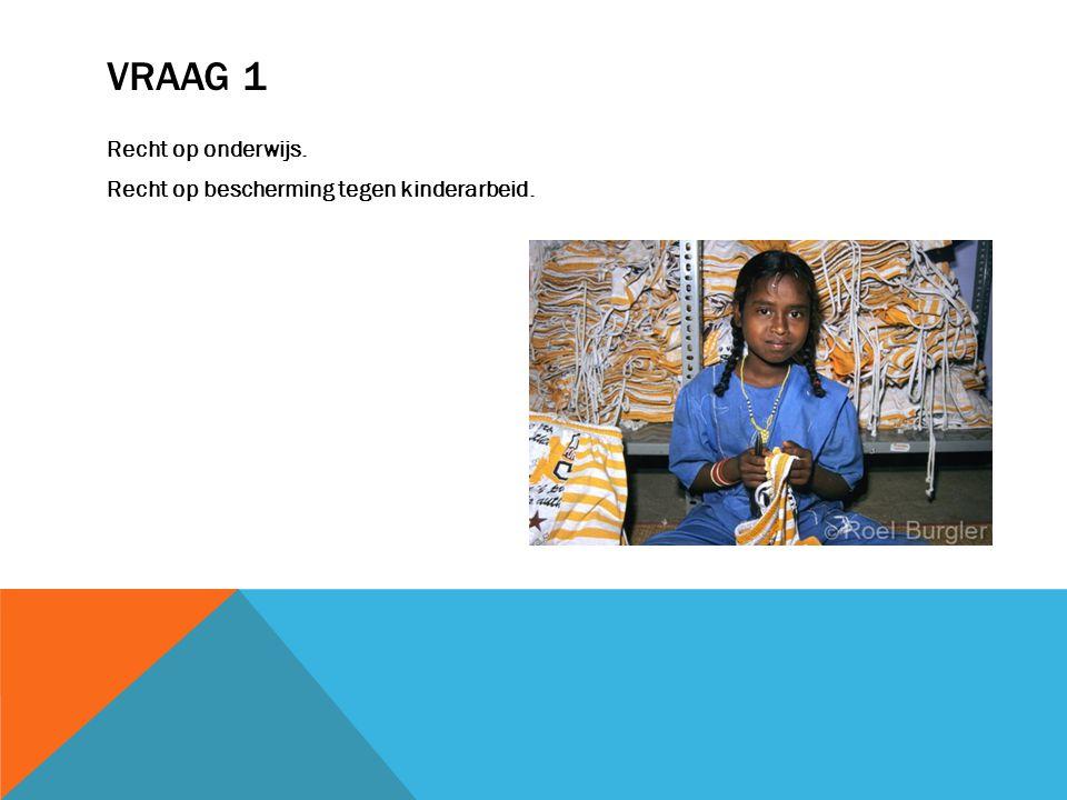 VRAAG 1 Recht op onderwijs. Recht op bescherming tegen kinderarbeid.