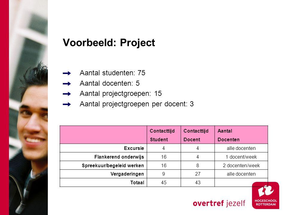 Voorbeeld: Project Aantal studenten: 75 Aantal docenten: 5 Aantal projectgroepen: 15 Aantal projectgroepen per docent: 3 Contacttijd Aantal StudentDoc