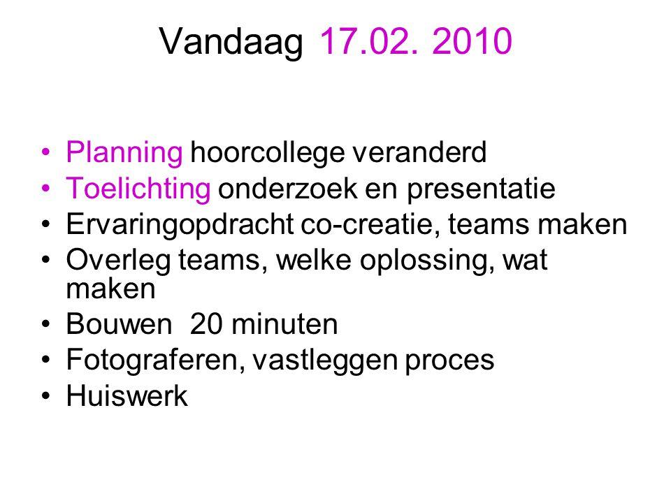 Vandaag 17.02. 2010 Planning hoorcollege veranderd Toelichting onderzoek en presentatie Ervaringopdracht co-creatie, teams maken Overleg teams, welke
