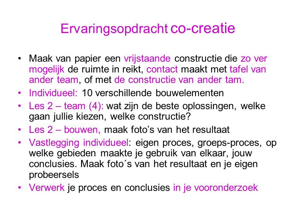 Ervaringsopdracht co-creatie Maak van papier een vrijstaande constructie die zo ver mogelijk de ruimte in reikt, contact maakt met tafel van ander team, of met de constructie van ander tam.