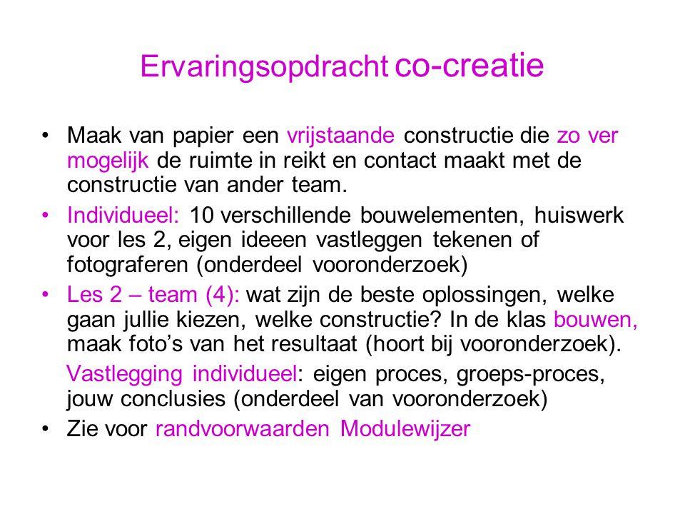 Onderzoek 2.1 individueel a.Wat is co-creatie in de huidige beroepspraktijk van de media.